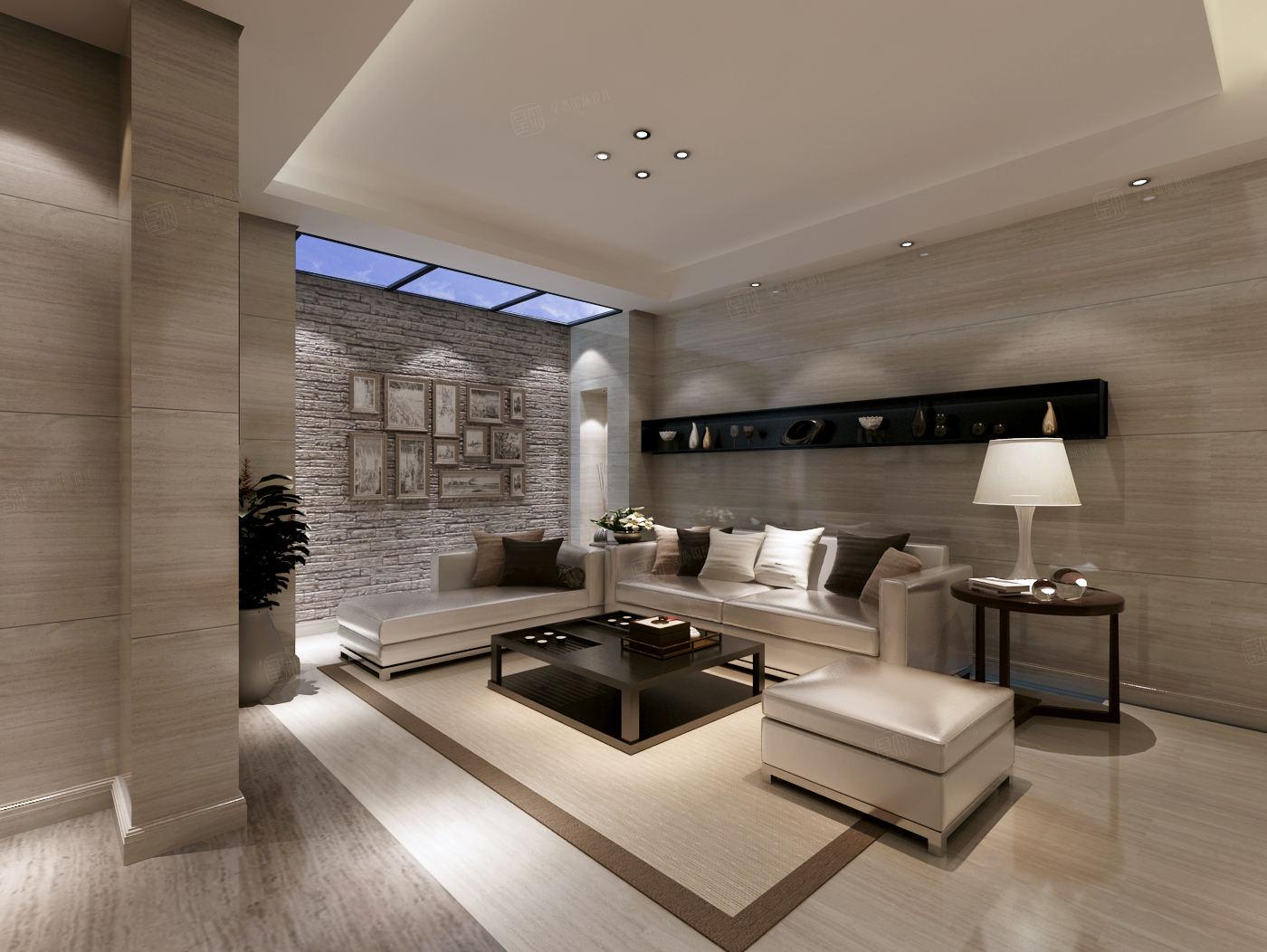 莫奈庄园 现代简约装修起居室效果图