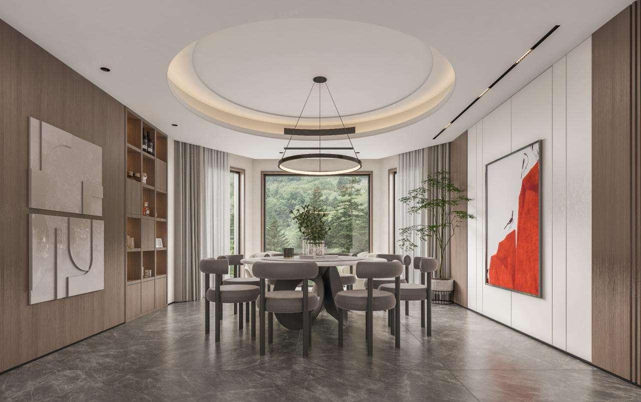佘山银湖  现代极简装修餐厅效果图