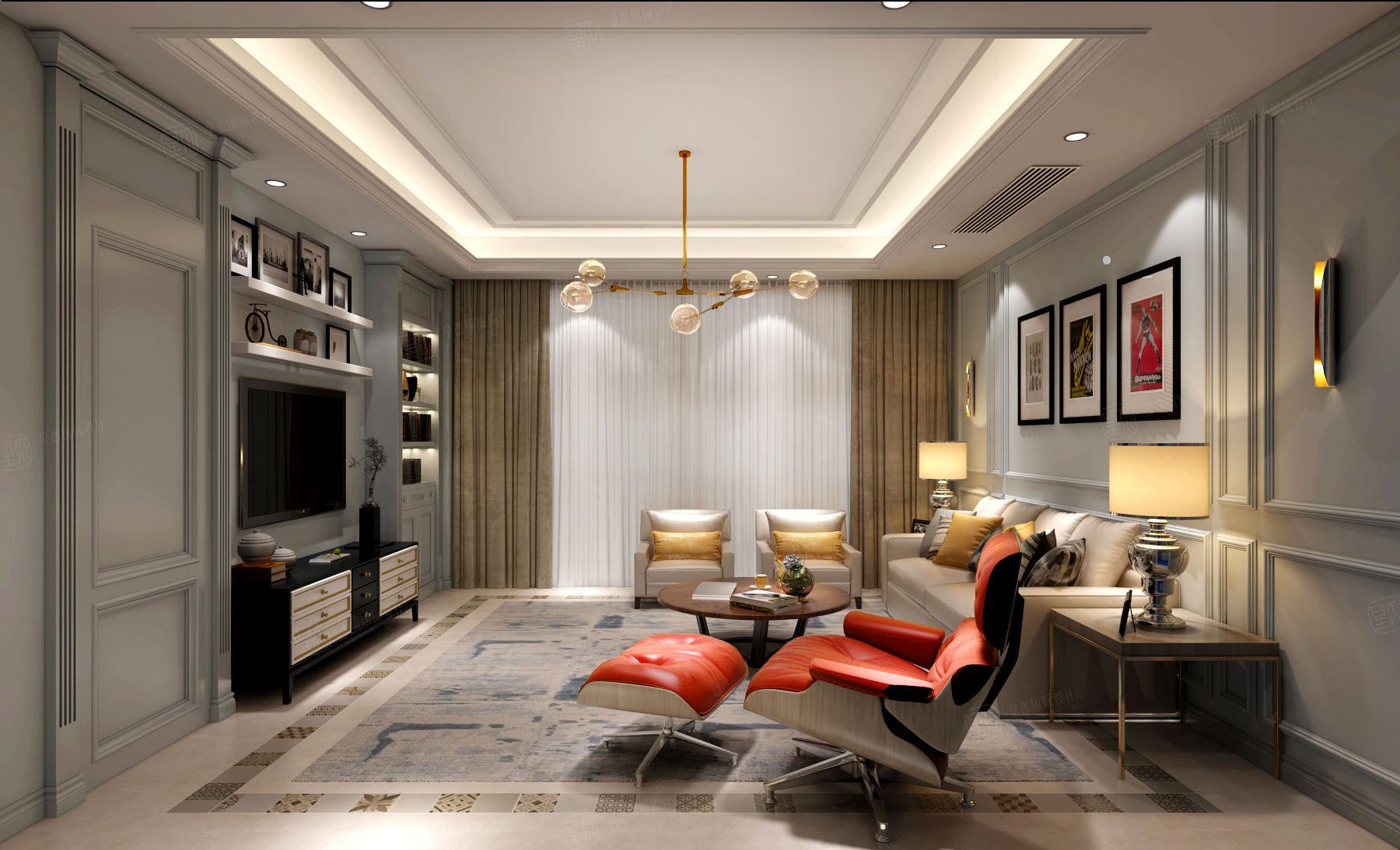 尚海郦景 现代简约装修客厅效果图