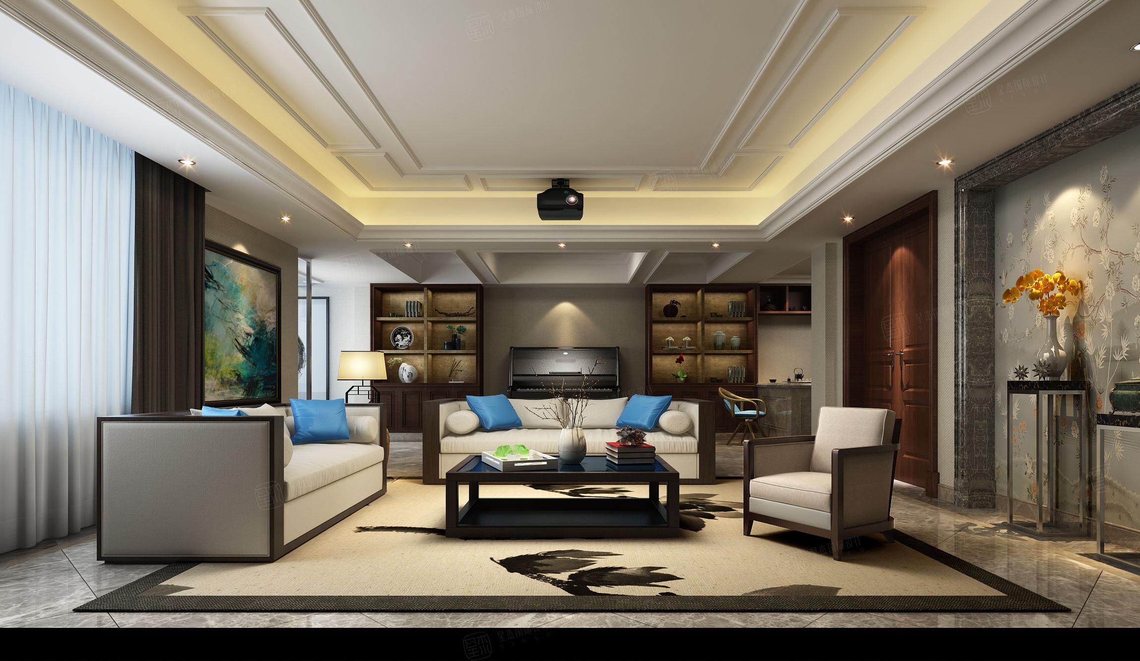 尚东鼎 新中式装修会客厅效果图