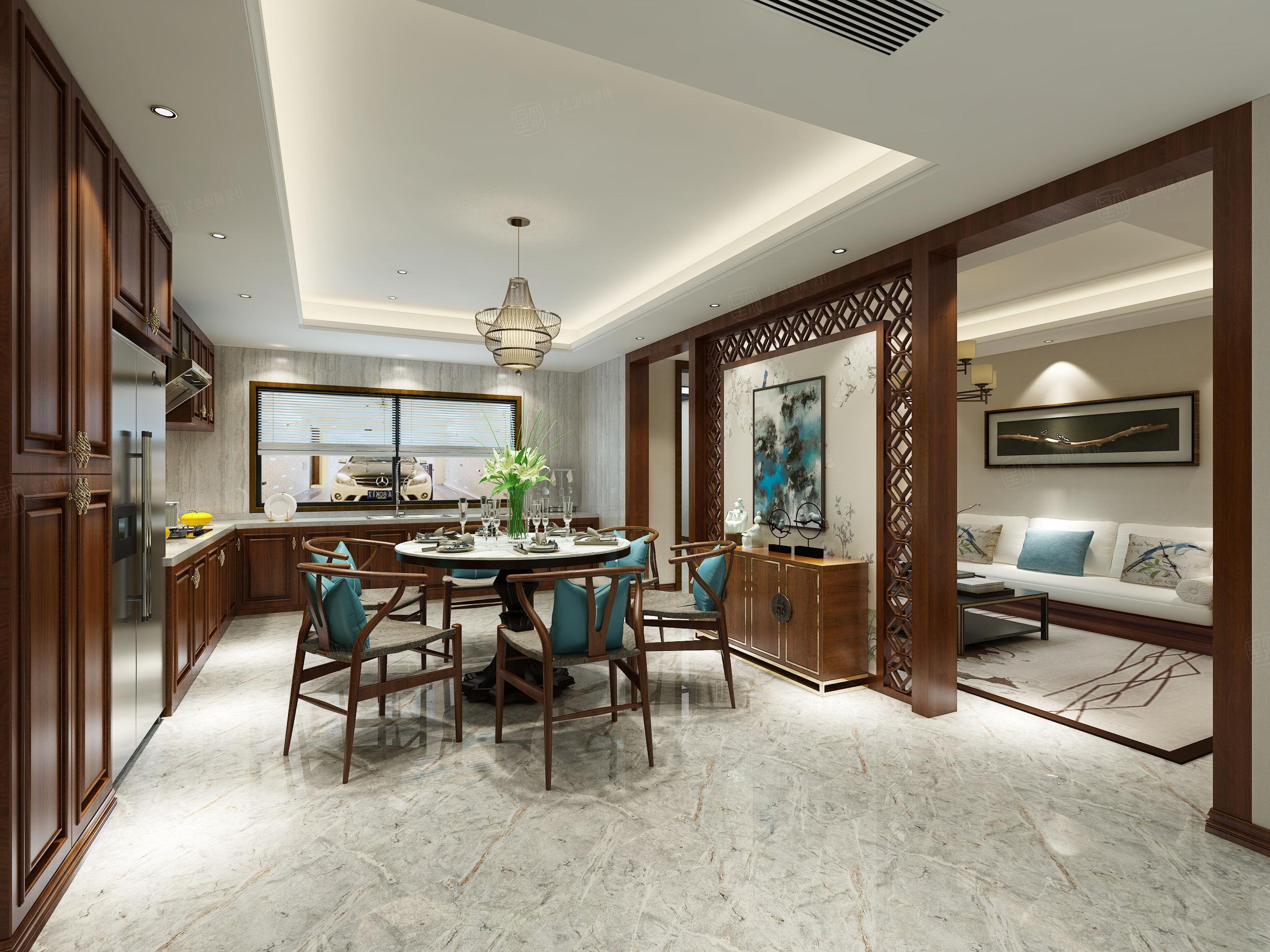 北京私人别墅 新古典装修餐厅效果图
