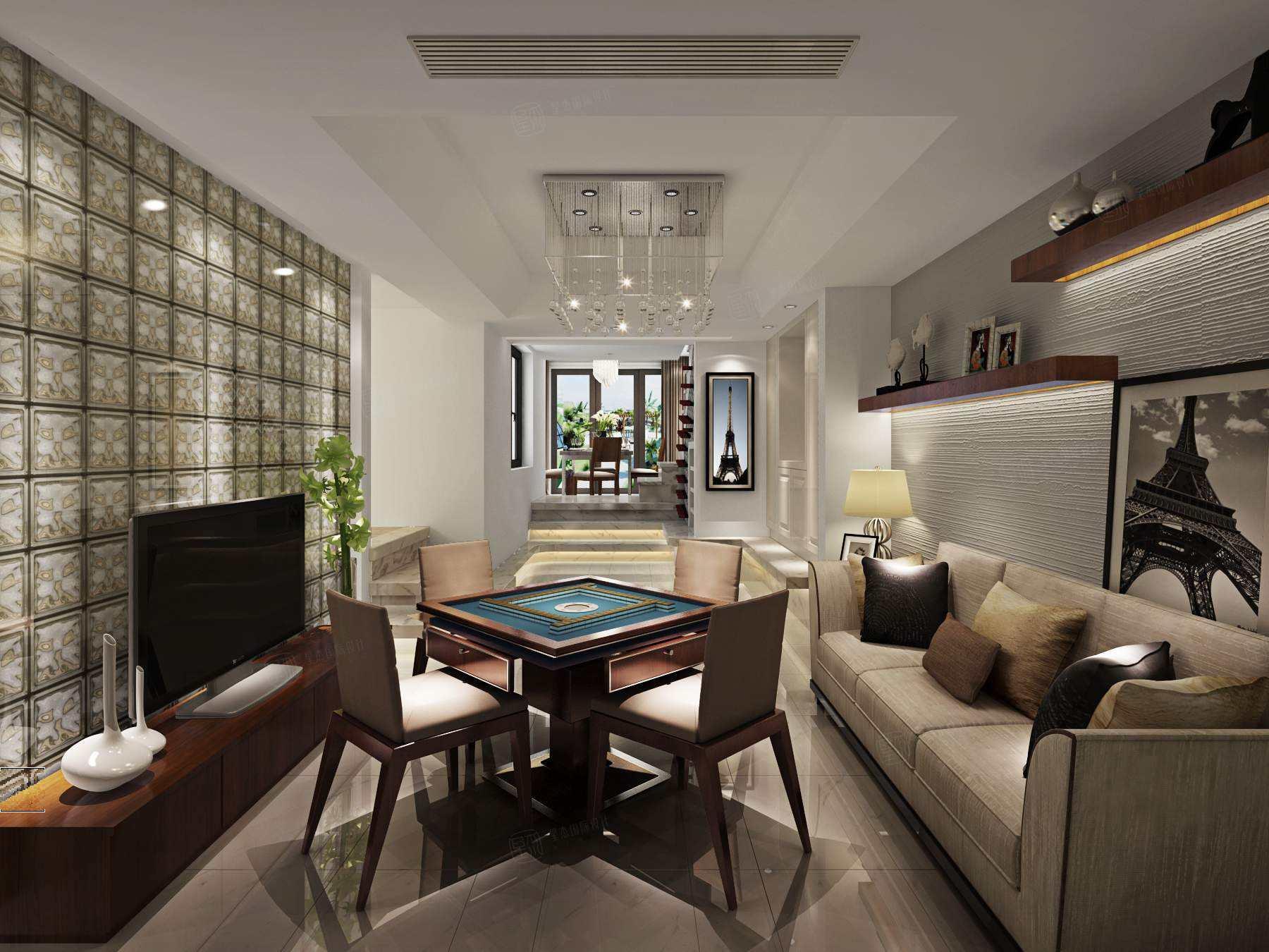 南郊中华园 现代简约装修休闲厅效果图