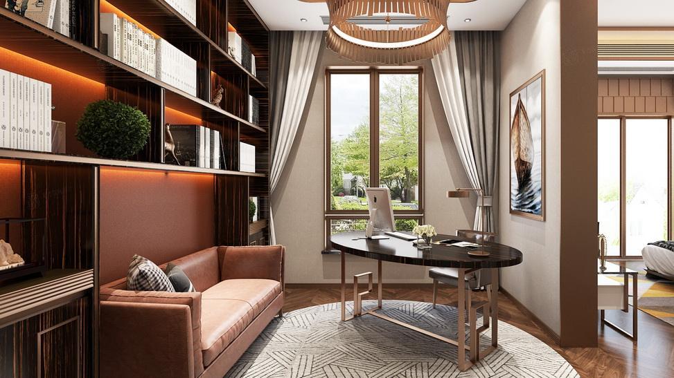 北上海 港式轻奢装修书房效果图