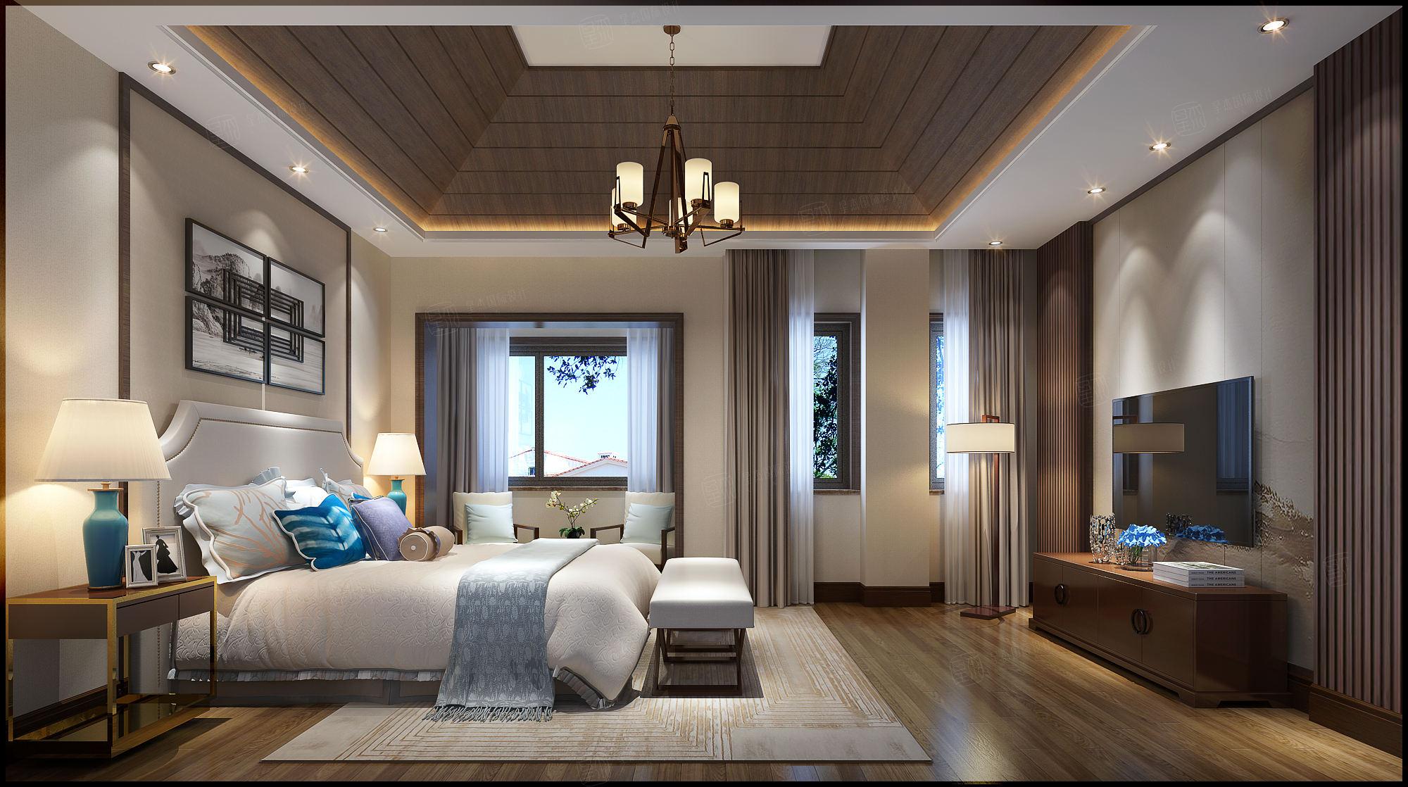 景瑞望府 新中式装修卧室效果图
