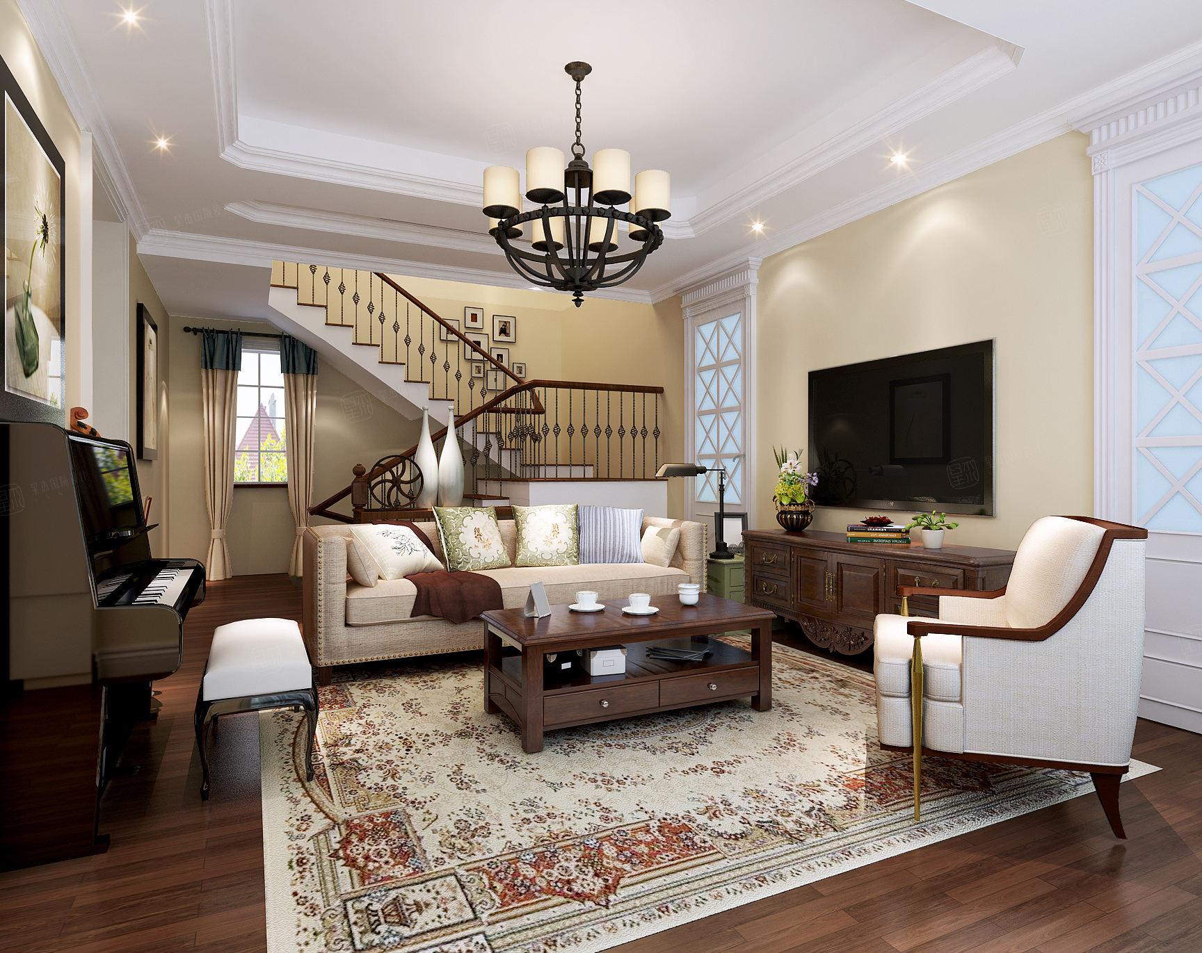 富力湾 西班牙风格装修起居室效果图