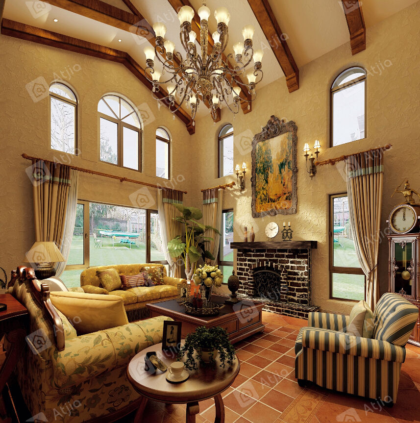 长泰西郊别墅 西班牙装修客厅效果图