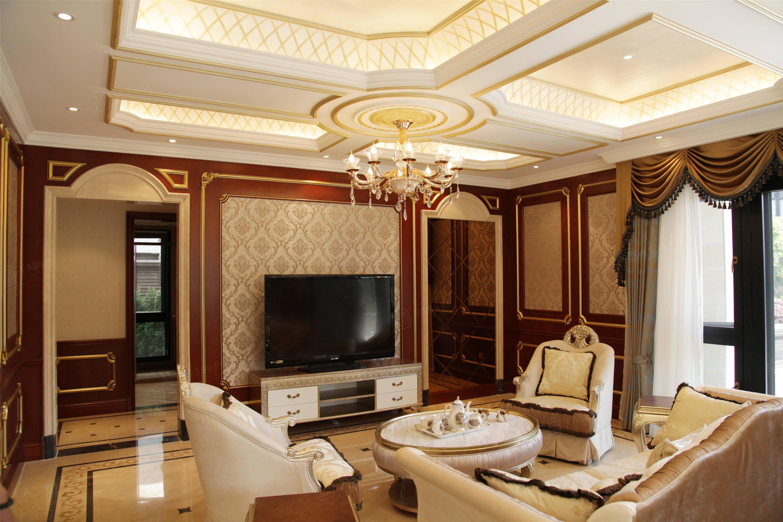 唐郡紫庐   法式装修起居室效果图