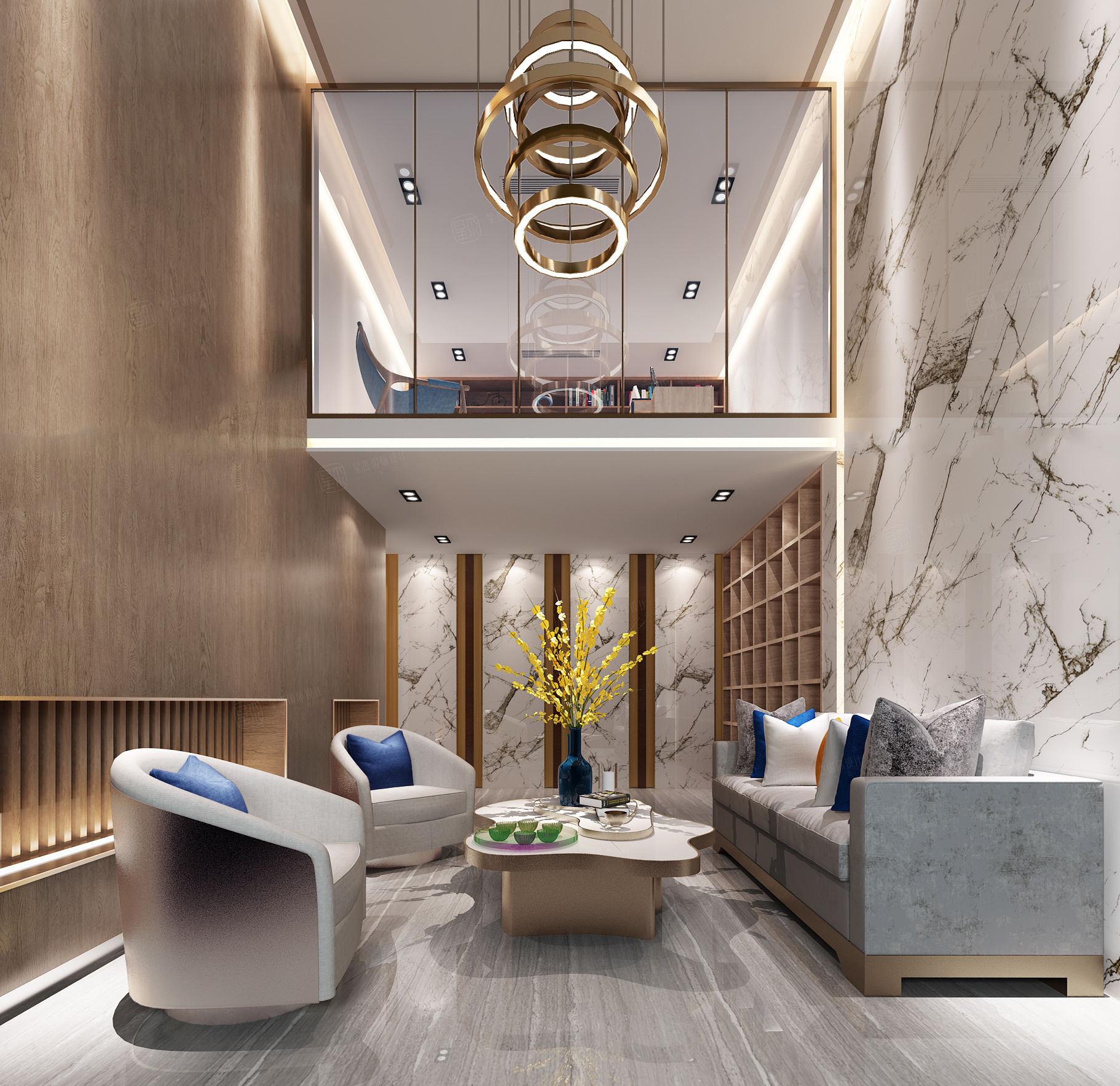 中邦上海城 现代简约装修客厅效果图