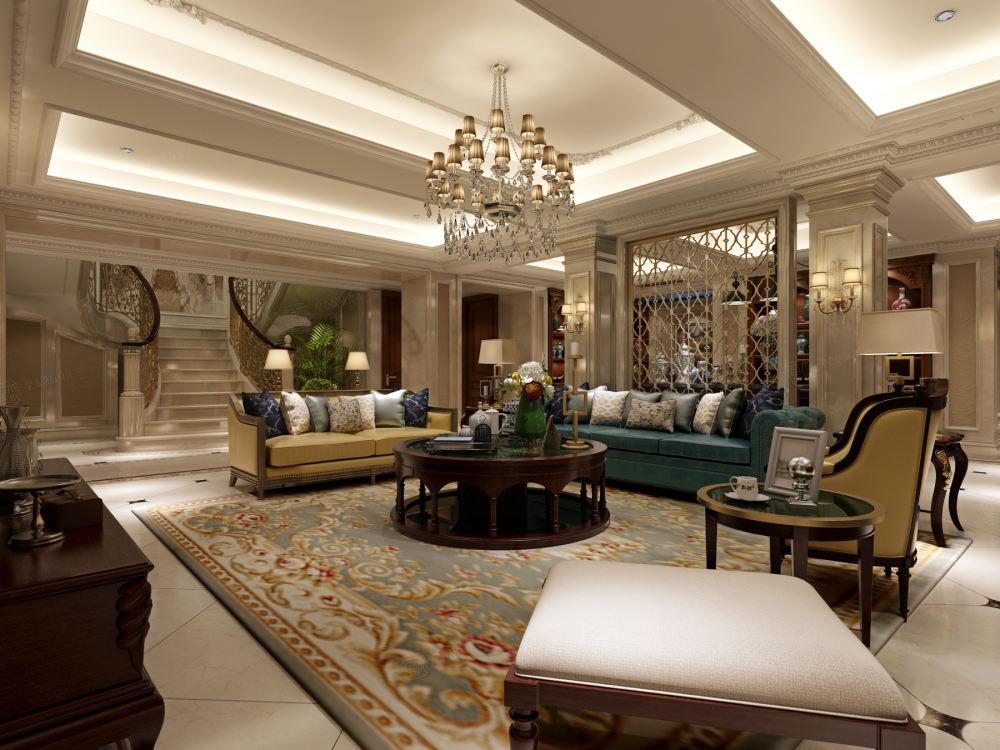 绿城玲珑苑 欧式装修起居室效果图