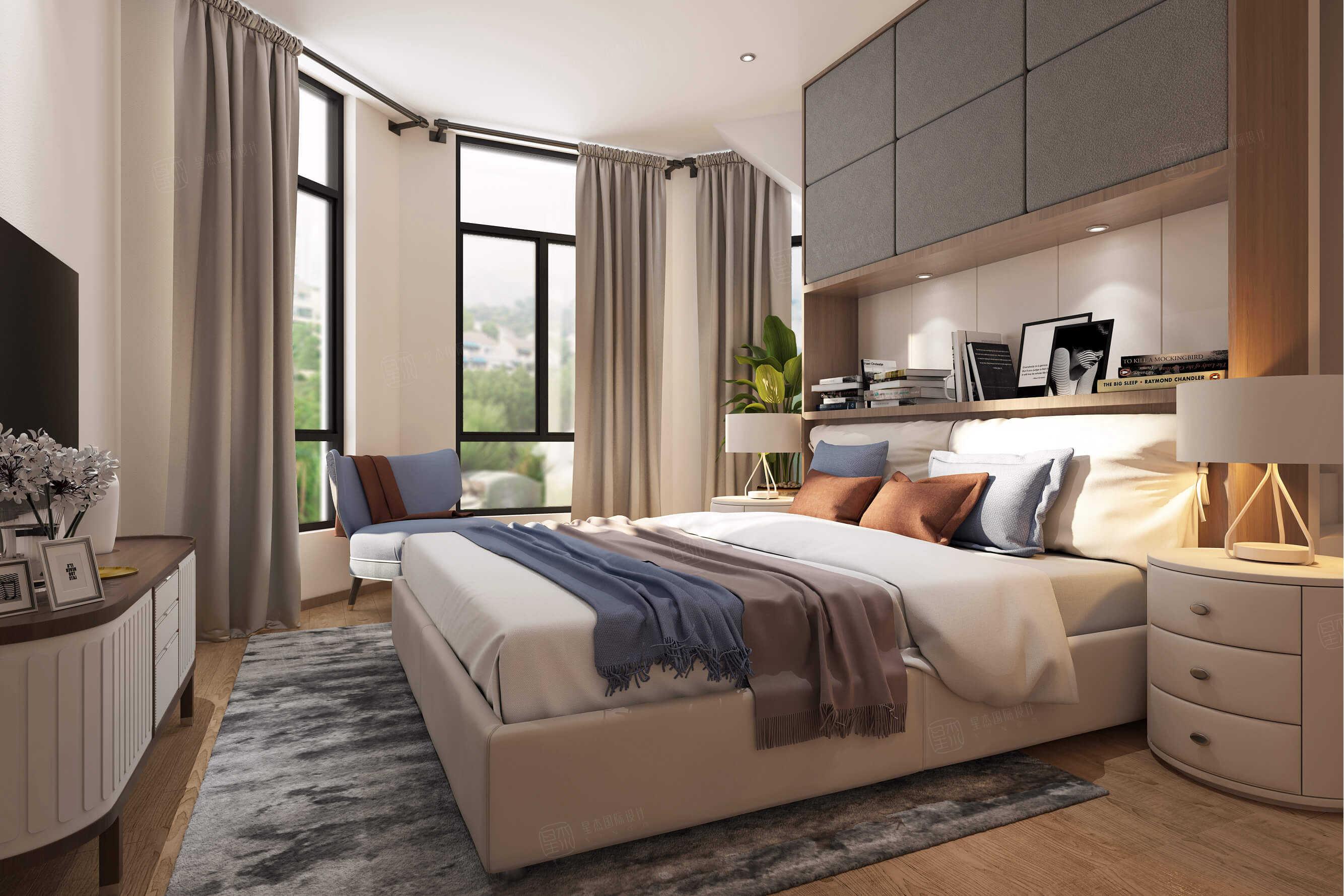 四季御庭 现代简约装修卧室效果图