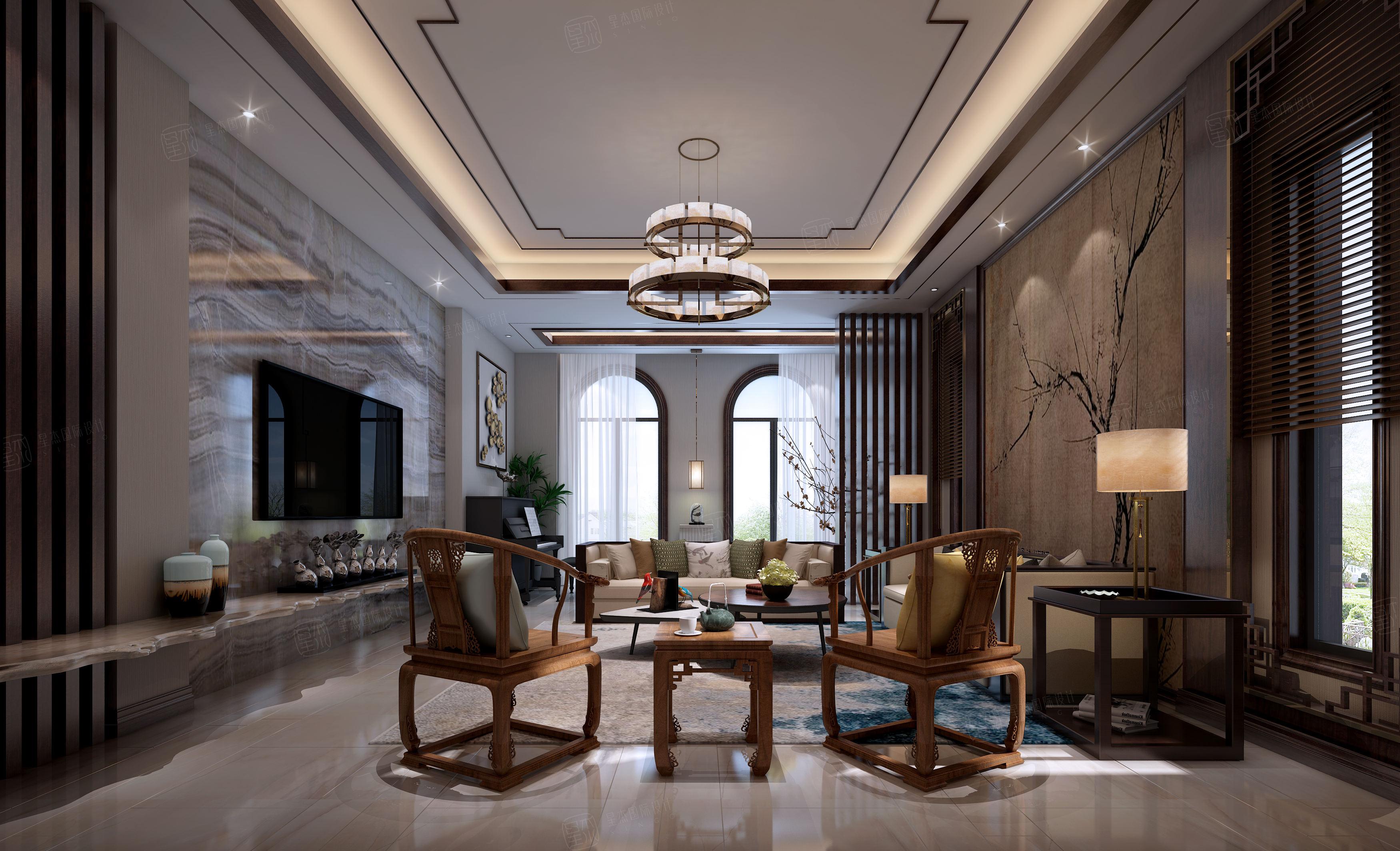 雅戈尔璞墅_现代与古典的融合装修客厅效果图