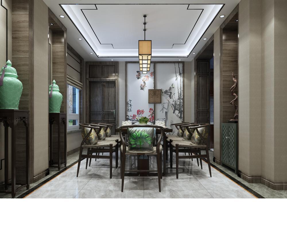 新中式风格-融公馆锦御名邸装修餐厅效果图