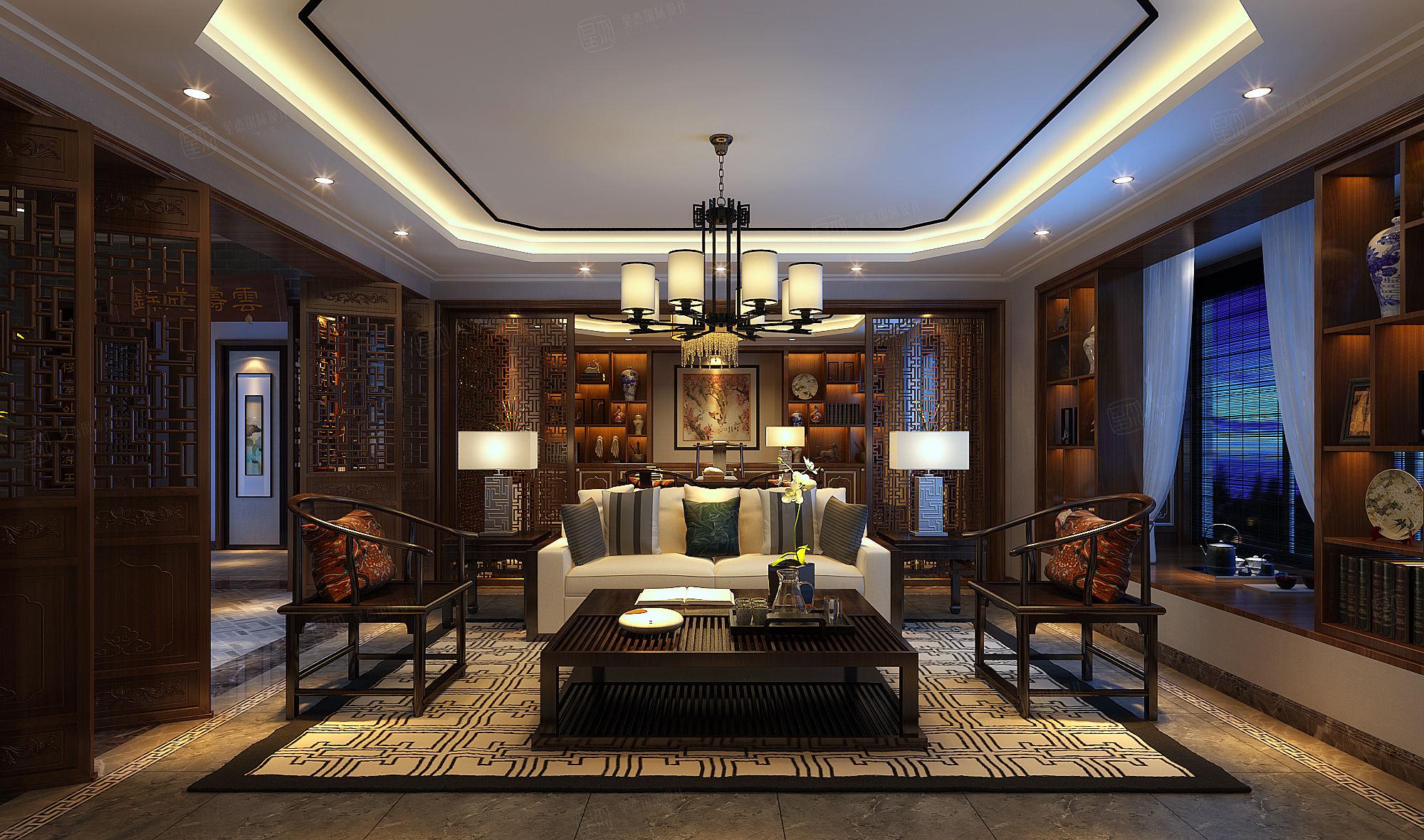 朗诗绿岛 现代中式装修客厅效果图