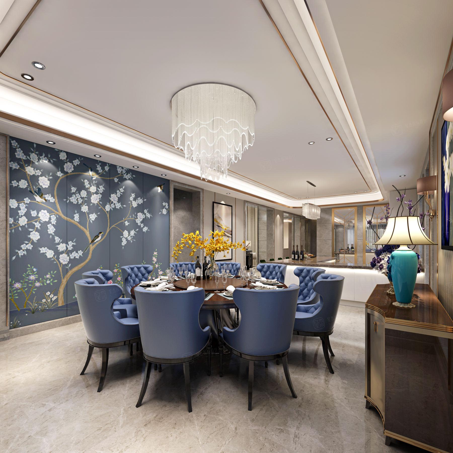 御翠园 现代风格装修餐厅效果图