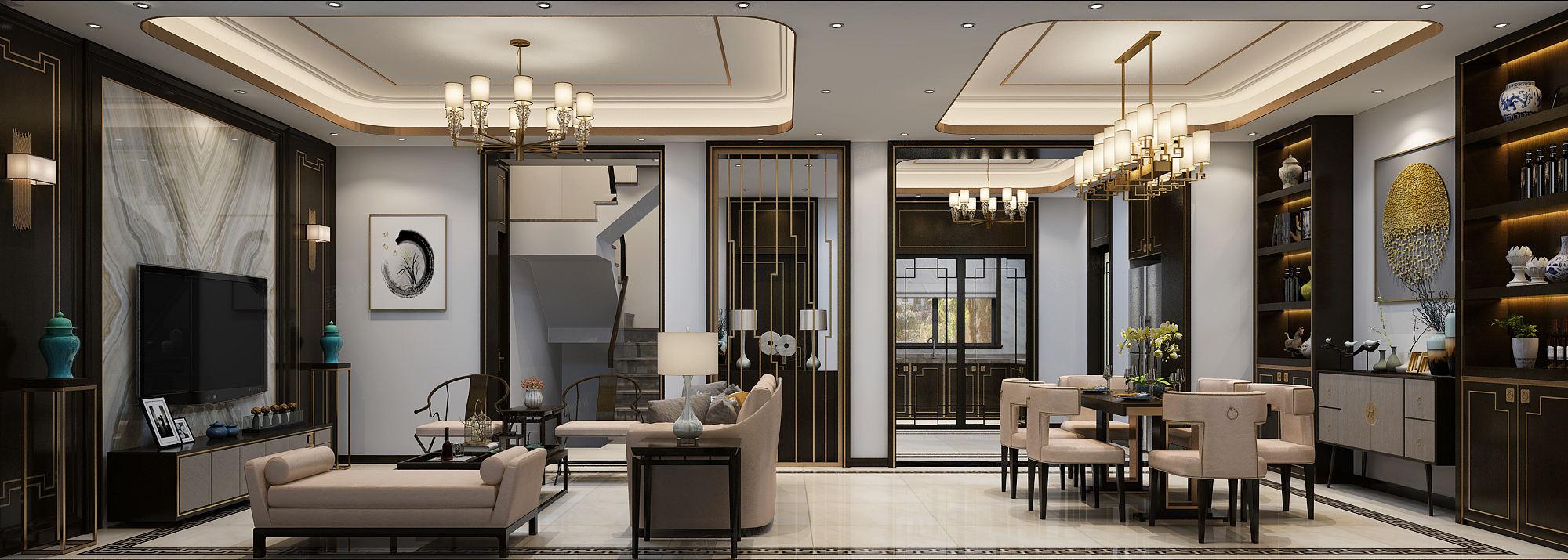 新弘墅园 新中式装修客厅效果图