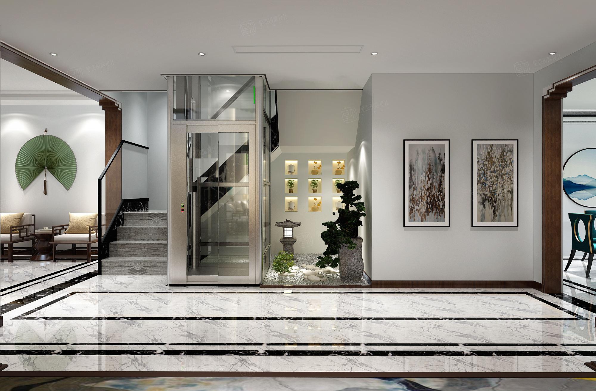 中海紫御豪庭 新中式装修过道效果图