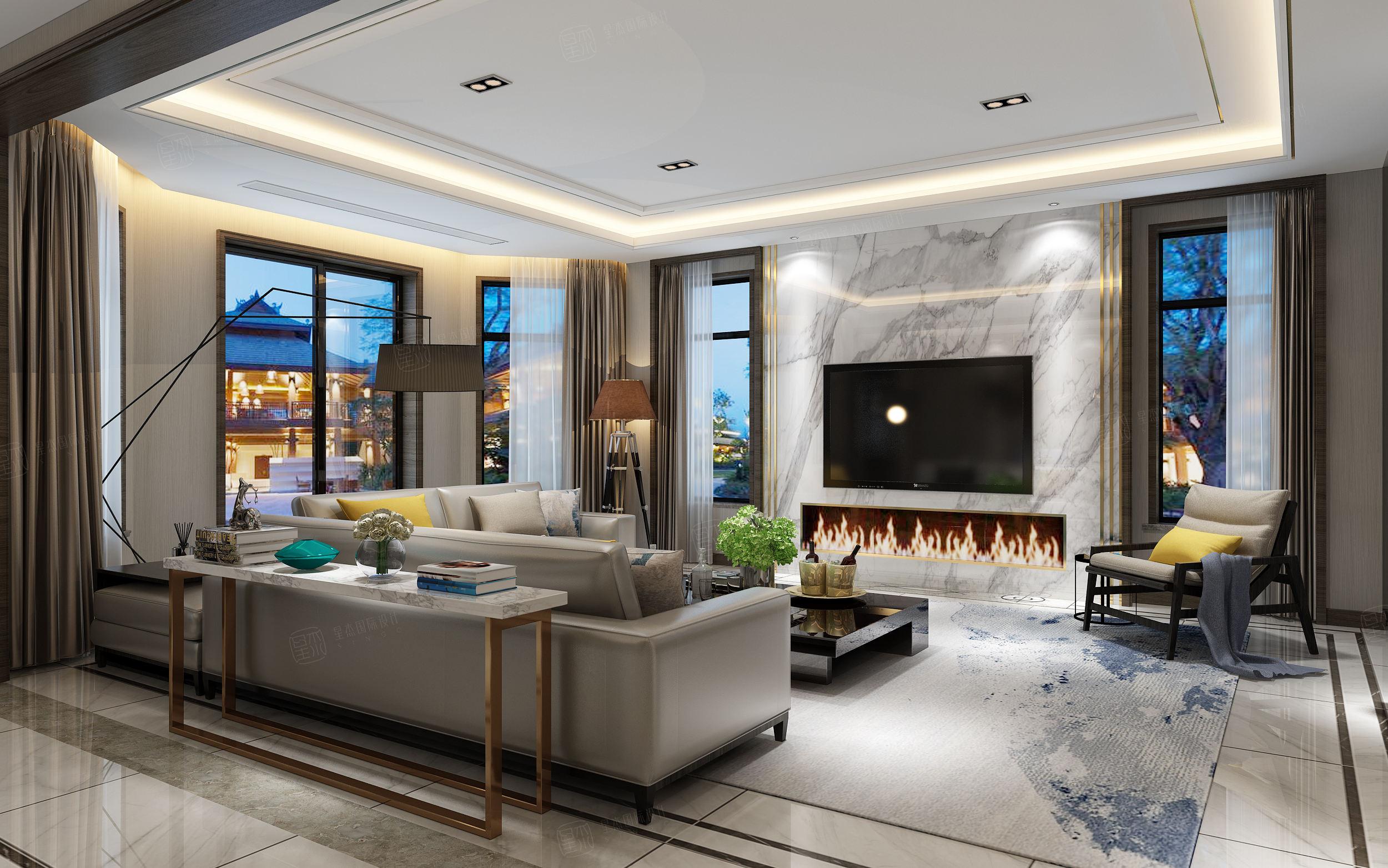 东海御庭 现代中式装修客厅效果图